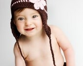 Ear flap flower hat - brown pink- choose your size