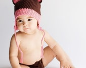 Brown \/pink Bear ear flap hat- Choose your size