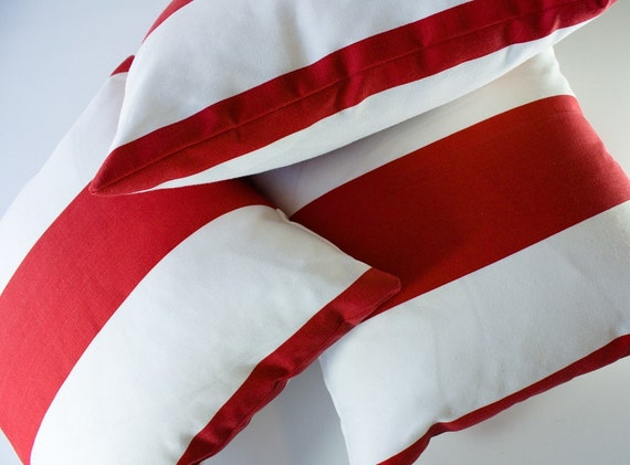 ON SALE, TWO Decorative Pillow Covers with red stripes. 16x16 outdoor quality White and Red Striped Printed cotton