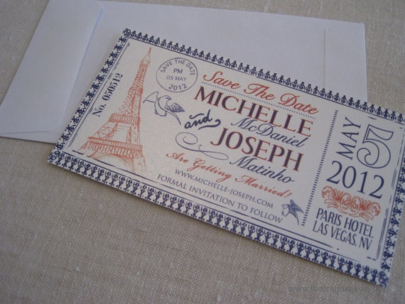 Eiffel Tower Postmarked Save the Date