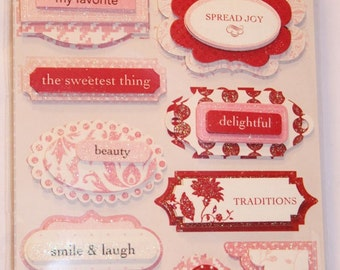 12 Paperie Rouge Dimensional Glitter Stickers by Making Memories
