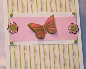 Butterfly and Flowers All Occasion Card