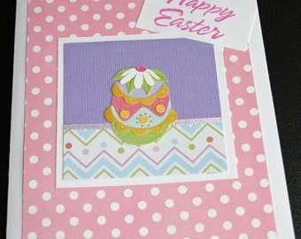 Pink Polka Dot Happy Easter Card