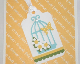 FRIENDS FOREVER Yellow with Bird Cage Tag Card