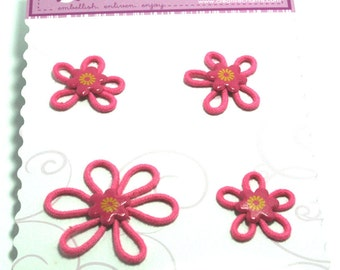 4 Hot Pink Groovy Petal Flowers from Creative Charms