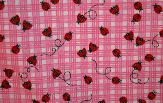 Pink and Red Lady Bug Flannel Pillowcase