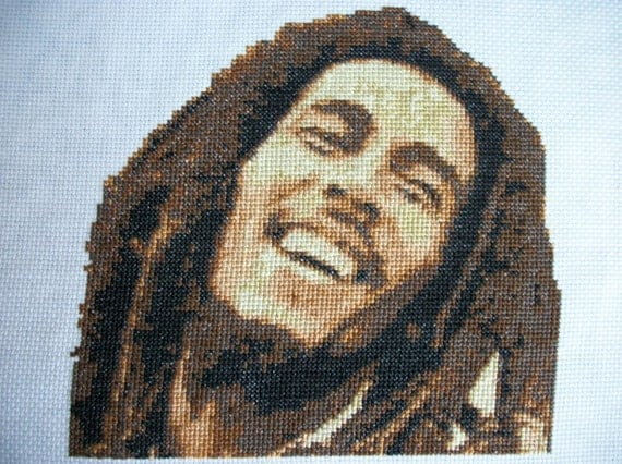 Awesome Completed Finished Counted Cross Stitch Bob Marley Portrait