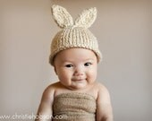 NEW Item, Super Soft Chunky Homespun Bunny Rabbit Hat, Vanilla Cream, Available all sizes NB- Adult, Great Gift and Adorable Photo Prop