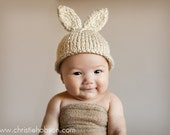 Knit Baby / 6-12 Month Bunny Rabbit Hat, Knitted Easter Photo Prop, Biscuit tweed color, Carrot