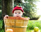 Apple Hat Hand Knit Baby Hat, Knitted Infant Photo Prop, Red Delicious Cap,  Avail. All Sizes, Newborn Baby, Infant, Toddler Knitted Beanie