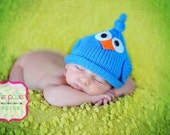 Knit Baby Bird Hat, Newborn Infant Cap, Blue Or Any Custom Color  Avail, All Sizes NB- Adult, Great Photo Prop