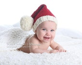 BABY Santa or Elf Knit Hat, Pompom, Rich Red and Winter White, Photo Prop, Munchkin Pixie Stocking Christmas Cap