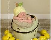 Knit Baby Hat, Lemon, Hand Knitted Newborn Infant Photo Prop, Lemonade, Baby, Toddler, Children, Adult Cap, Beanie