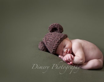 Baby Bear Hat, Ready To Ship, Bear Cub, Knit Newborn Photo Prop, Knitted Chocolate Brown, Chunky, Great Gift