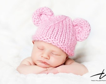 Baby Bear Hat Hand Knitted, Pink, Knit Newborn Infant Photo Prop, Valentines, Easter, U choose Color, Diaper Cover & All Sizes Avail.