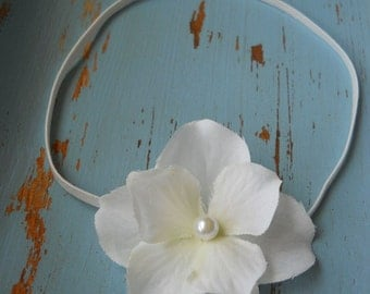 Baby Headband, Flower Newborn Head Band, Halo, Photo Prop, Soft White, Pearl, White Skinny Elastic, NB - Adult, Accessory