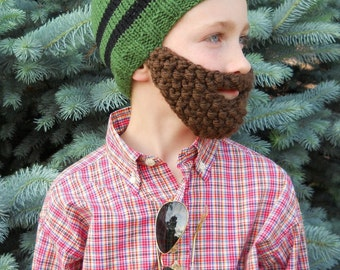 Beard Hat, Knit Boys Mens Cap, Knitted Beanie Brown Beard, Green with Black Stripes, Toque, Adult Teen Size  Ready to Ship RTS In Stock