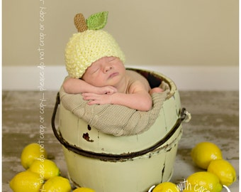 Knit Baby Hat, Lemon, Hand Knitted Newborn Infant Photo Prop, Lemonade, Baby, Toddler, Children, Adult Cap, Beanie