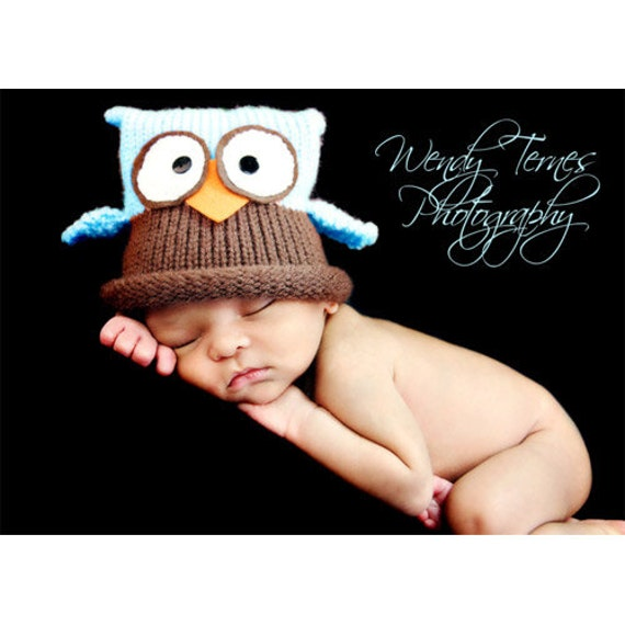 Knit Baby / Newborn Owl Hat, Custom Colors Avail, Newborn- Adult,Great Knitted Infant Photo Prop, Fluff and Fuzz Inspired