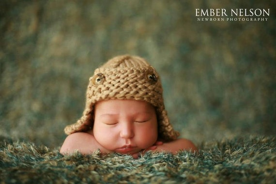 Hand Knit Baby Aviator Hat, Knitted Photo Prop Newborn Chunky Wool, Flying Ace Infant Helmet,U Choose Color, 0-3 months