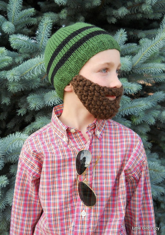 Beard Hat, Knit Boys & Mens Cap, Knitted Beanie Beard, Pick Hat and Beard Color, Toddler Children Youth Teen Adult Knitting