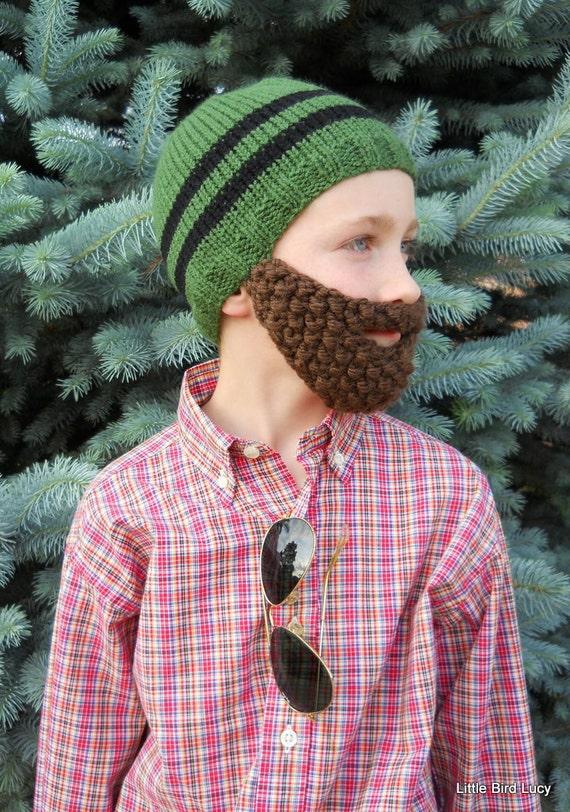 Beard Hat, Knit Boys Mens Cap, Knitted Beanie Beard, You Choose Hat & Beard Color, Toque, Toddler Children. Youth Teen Adult, Custom