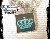 Vibrant Teal Regal Crown Glass Pendant Art Charm Soldered Pendant