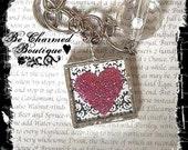 Pink Glitter Heart Damask Zebra Glass Pendant Art Charm Soldered Pendant