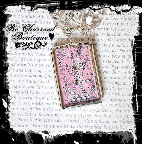 Pink Eiffel Tower Paris Chic Glass Charm Soldered Pendant