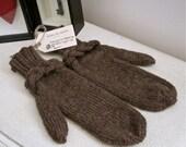 Brown braided mittens