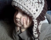 Adult/Childrens Bomber Hat - Brown and beige - Chunky soft wool - Colors vary - sizing for adults, toddlers, and babies 0-12 months