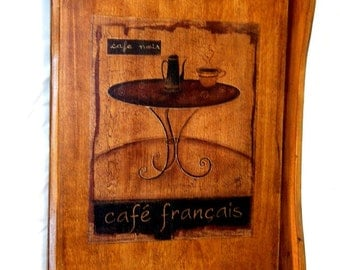 A pretty cafe tray for your tea or coffee, a wood serving tray reclaimed and remade