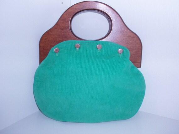 Vintage, Rare, Retro, Fabulous, 1970s Maple wood handle Grass Green Cotton Corduroy reversable to red plaid, handbag made by Burlington.
