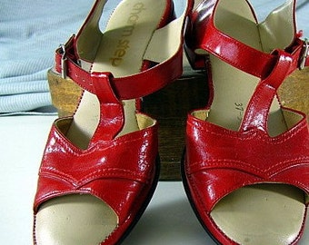 Red Charm Step 80s Sandals