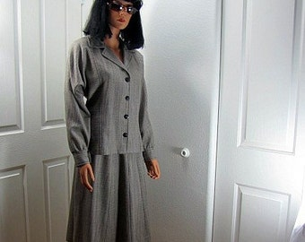 1980s Bill Blass Wool/Rayon Suit Jacket and Skirt