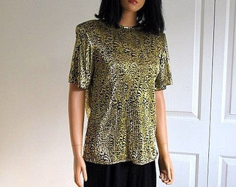 Vintage Gold and Black Animal Print Accordian Pleated Top