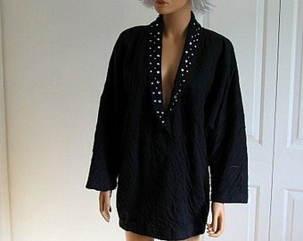Large Black Knit 1980s Slouchy Top with Rhinestone Collar