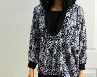 80s Black and White Animal Print Slouchy Jersey Knit Top