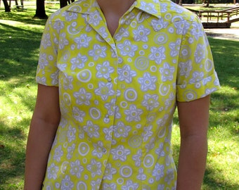 Crisp Vintage Yellow Western Shirt Short Sleeves Pearlized Snap Front