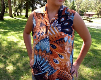 Vintage Aqua and Rust Peacock Print Sleeveless 1970s Button Front Shirt