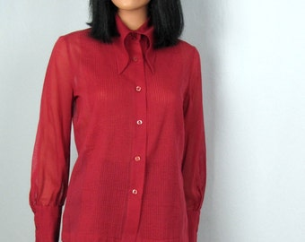 Vintage 1970s Sheer Red Cranberry Pleated Tuxedo Style Blouse