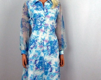 70s Vintage Aqua Blue Flower Dress