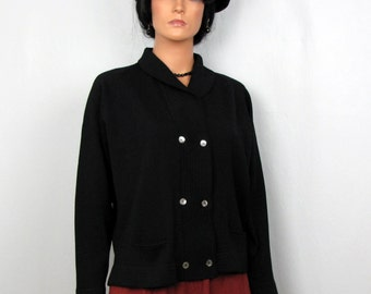 Black Wool Knit Sweater Jacket with Abalone Shell Buttons Vintage