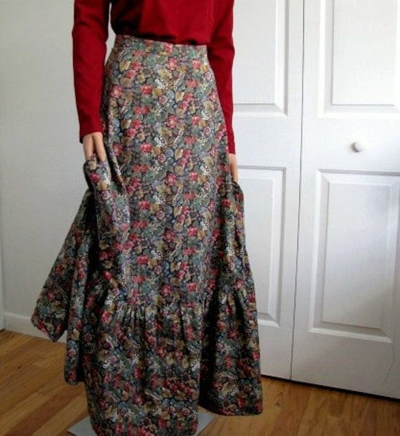 1970s Boho Country Floral Maxi Skirt