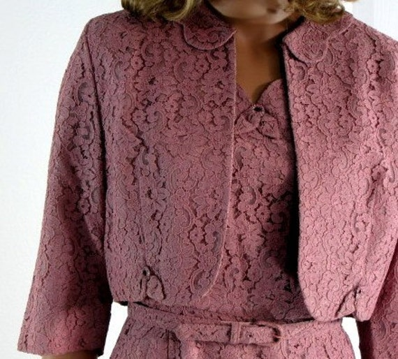 Vintage 1950s Dusty Rose Chantilly Lace Dress and Bolero by Mendel