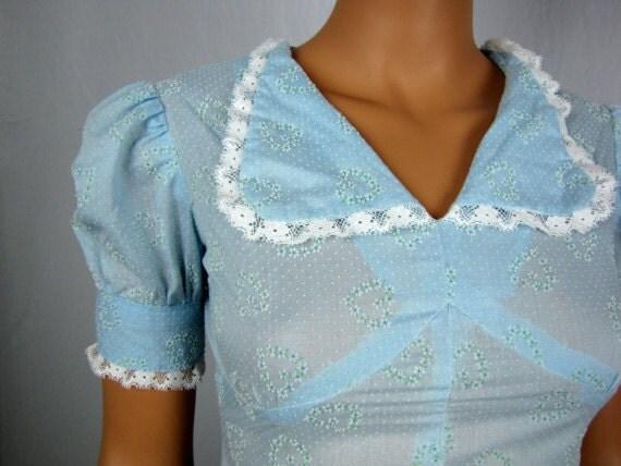 Vintage 1970s Baby Blue Heart Flocked Maxi Dress