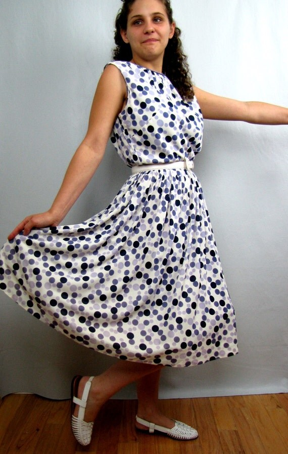 Vintage Purple Bubbles 1960s Nylon Summer Dress Dolka Dots
