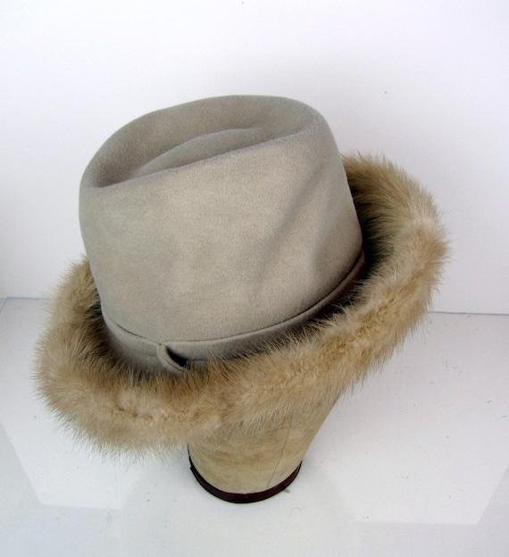 Vintage 1960s Woman's Wool Mink Trimmed Fedora Hat Coffee Cream