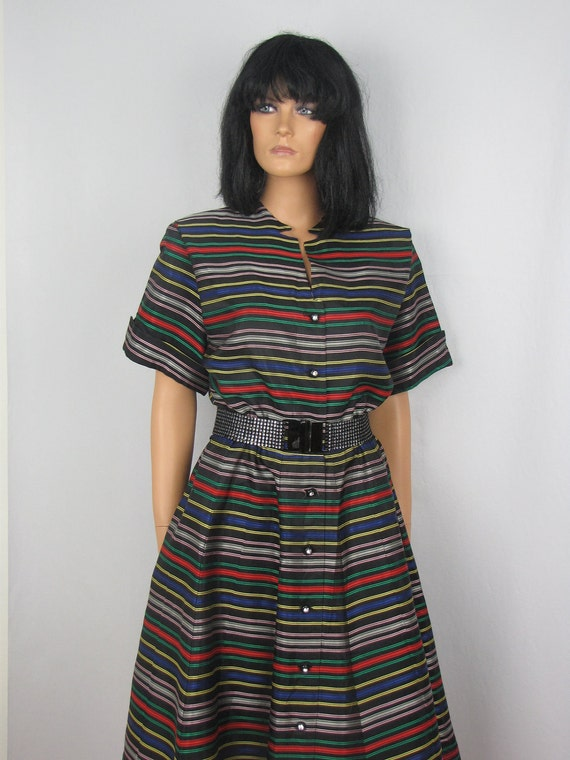 Vintage 1950s Striped Taffeta Party Swing Dress