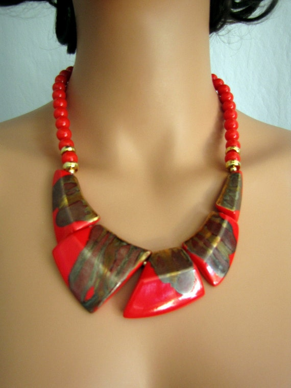 vintage 1980s Red and Gold Bronze High Glazed Ceramic Necklace and Earring Set Japan